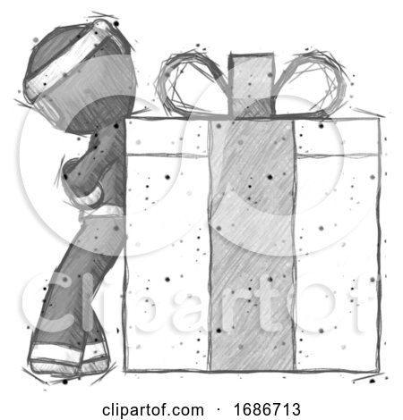 Sketch Ninja Warrior Man Gift Concept - Leaning Against Large Present by Leo Blanchette