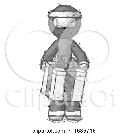 Sketch Ninja Warrior Man Gifting Present with Large Bow Front View by Leo Blanchette