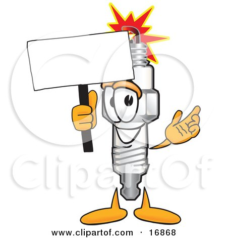 Clipart Picture of a Spark Plug Mascot Cartoon Character Waving a Blank White Sign by Toons4Biz