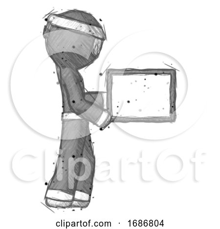 Sketch Ninja Warrior Man Show Tablet Device Computer to Viewer, Blank Area by Leo Blanchette