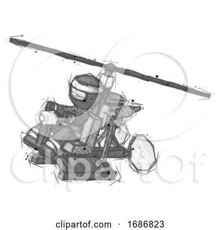 Sketch Ninja Warrior Man Flying in Gyrocopter Front Side Angle Top View by Leo Blanchette