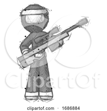 Sketch Ninja Warrior Man Holding Sniper Rifle Gun by Leo Blanchette