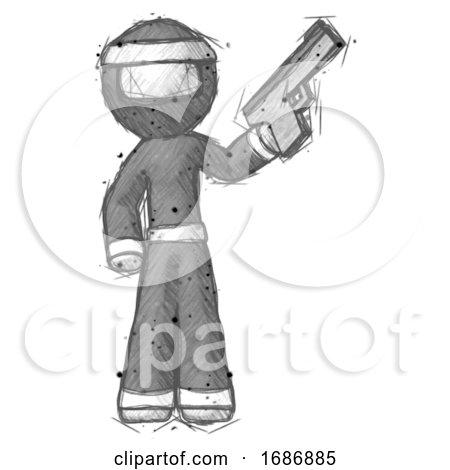 Sketch Ninja Warrior Man Holding Handgun by Leo Blanchette