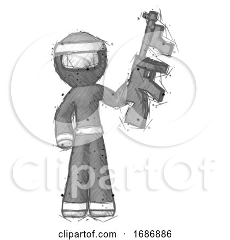 Sketch Ninja Warrior Man Holding Tommygun by Leo Blanchette