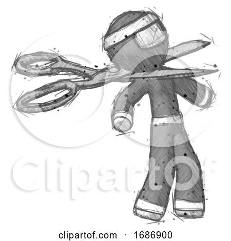 Sketch Ninja Warrior Man Scissor Beheading Office Worker Execution by Leo Blanchette