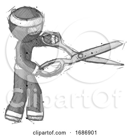 Sketch Ninja Warrior Man Holding Giant Scissors Cutting out Something by Leo Blanchette