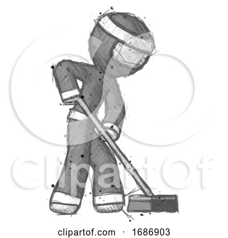Sketch Ninja Warrior Man Cleaning Services Janitor Sweeping Side View by Leo Blanchette