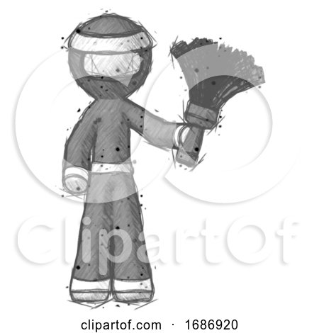 Sketch Ninja Warrior Man Holding Feather Duster Facing Forward by Leo Blanchette