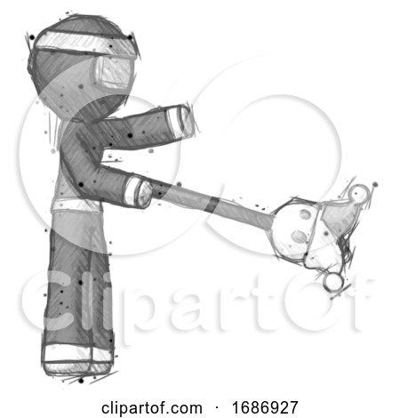 Sketch Ninja Warrior Man Holding Jesterstaff - I Dub Thee Foolish Concept by Leo Blanchette
