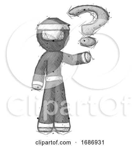 Sketch Ninja Warrior Man Holding Question Mark to Right by Leo Blanchette