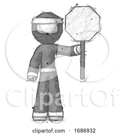 Sketch Ninja Warrior Man Holding Stop Sign by Leo Blanchette