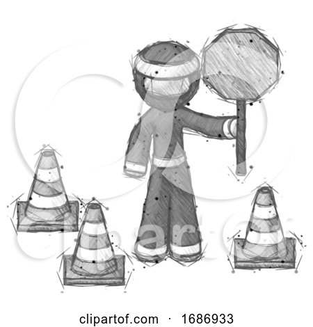 Sketch Ninja Warrior Man Holding Stop Sign by Traffic Cones Under Construction Concept by Leo Blanchette