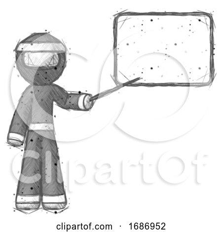 Sketch Ninja Warrior Man Giving Presentation in Front of Dry-erase Board by Leo Blanchette