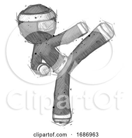Sketch Ninja Warrior Man Ninja Kick Right by Leo Blanchette