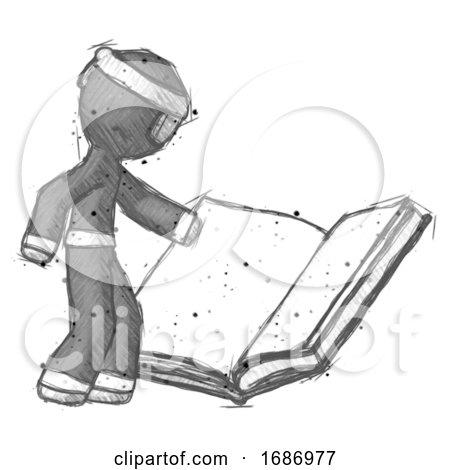 Sketch Ninja Warrior Man Reading Big Book While Standing Beside It by Leo Blanchette