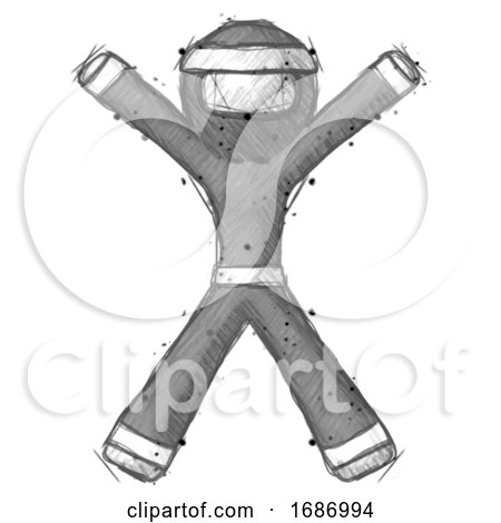 Sketch Ninja Warrior Man Jumping or Flailing by Leo Blanchette