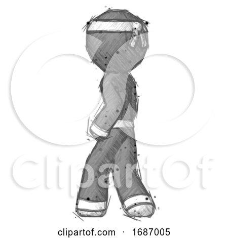 Sketch Ninja Warrior Man Walking Away Direction Left View by Leo Blanchette