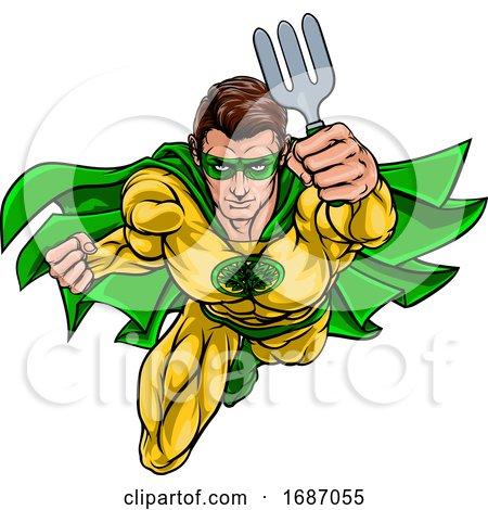 Super Gardener Superhero Holding Garden Fork by AtStockIllustration