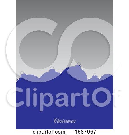 Christmas Blank Card with Blue Baubles Silhouette by elaineitalia
