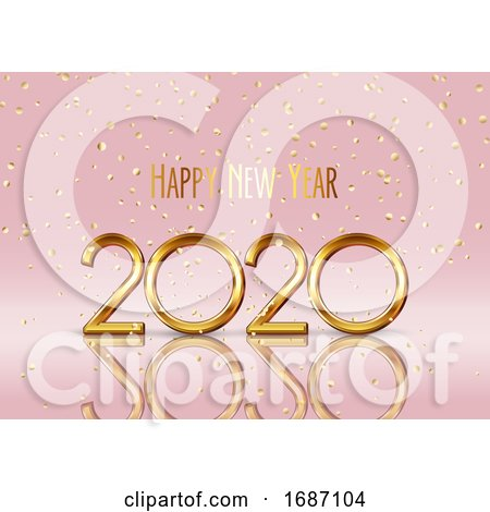 Happy New Year Background with Gold Confetti by KJ Pargeter