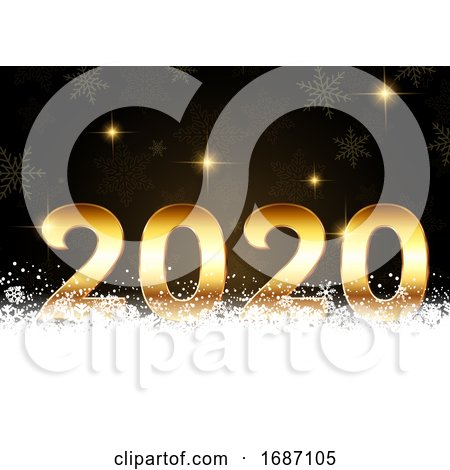 Happy New Year Background with Golden Numbers Nestled in Snow by KJ Pargeter