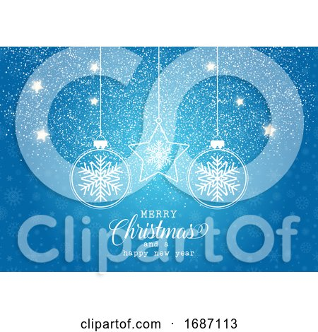 Christmas Background with Hanging Baubles on Snowflake Design by KJ Pargeter