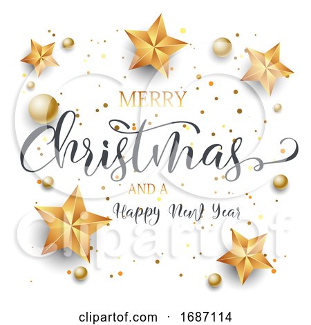 Christmas Background with Decorative Text, Stars and Baubles by KJ Pargeter