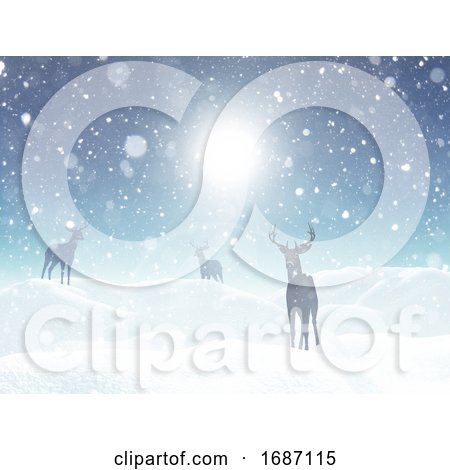 3D Christmas Landscape with Deer in Snow by KJ Pargeter