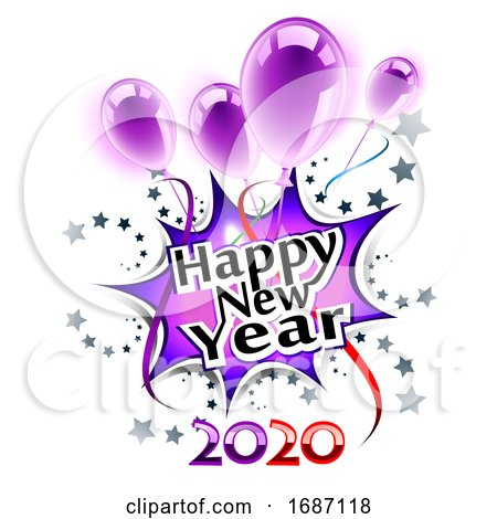 Happy New Year 2020 Greeting with Balloons by Oligo