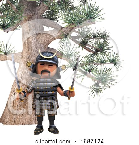 3d Cartoon Japanese Samurai Warrior with Two Katana Swords Under an Impossibly Huge Bonsai Tree, 3d Illustration by Steve Young