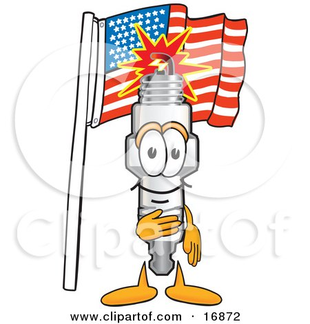 Clipart Picture of a Spark Plug Mascot Cartoon Character Pledging Allegiance to the American Flag by Toons4Biz