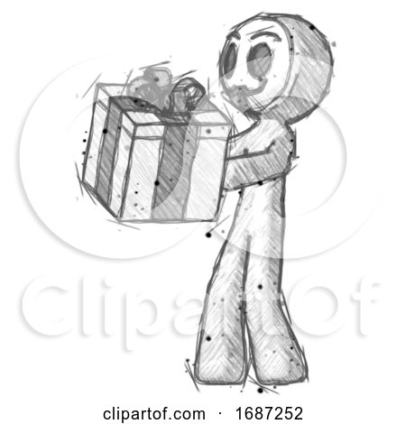 Sketch Little Anarchist Hacker Man Presenting a Present with Large Bow on It by Leo Blanchette