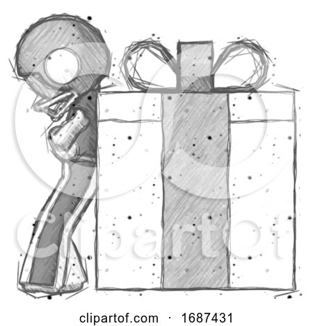 Sketch Football Player Man Gift Concept - Leaning Against Large Present by Leo Blanchette
