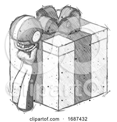 Sketch Football Player Man Leaning on Gift with Bow Angle View by Leo Blanchette