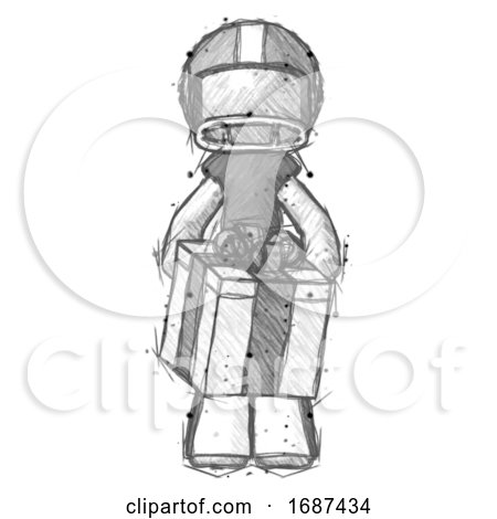 Sketch Football Player Man Gifting Present with Large Bow Front View by Leo Blanchette