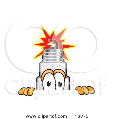 Clipart Picture of a Spark Plug Mascot Cartoon Character Peeking Over a Surface by Toons4Biz
