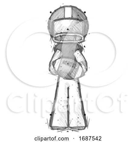 Sketch Football Player Man Giving Football to You by Leo Blanchette
