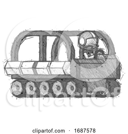 Sketch Football Player Man Driving Amphibious Tracked Vehicle Side Angle View by Leo Blanchette