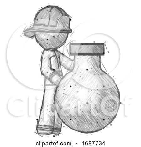 Sketch Firefighter Fireman Man Standing Beside Large Round Flask or Beaker by Leo Blanchette
