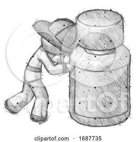 Sketch Firefighter Fireman Man Pushing Large Medicine Bottle by Leo Blanchette