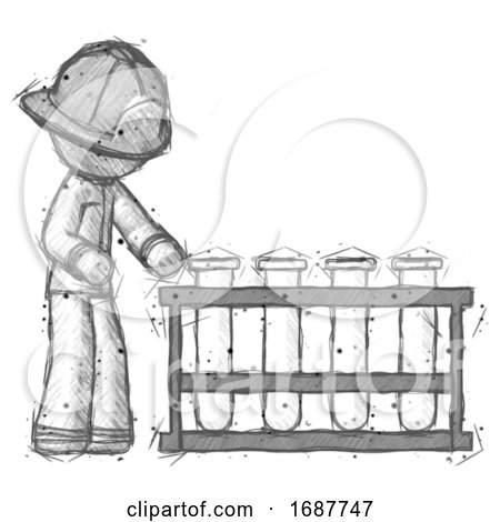 Sketch Firefighter Fireman Man Using Test Tubes or Vials on Rack by Leo Blanchette