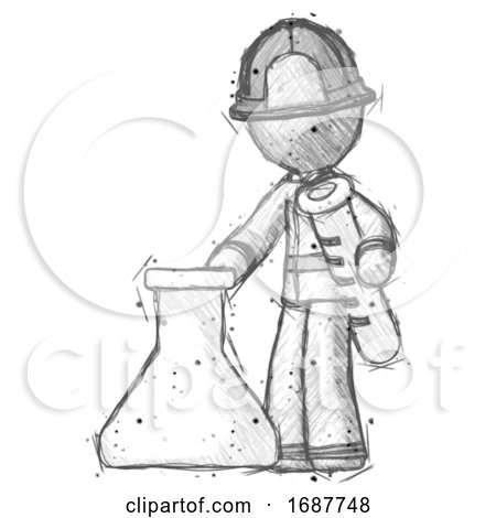 Sketch Firefighter Fireman Man Holding Test Tube Beside Beaker or Flask by Leo Blanchette