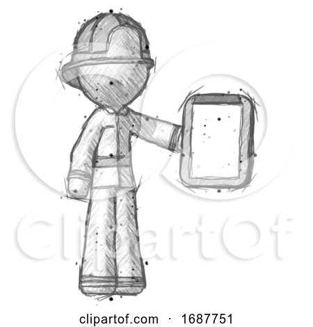 Sketch Firefighter Fireman Man Showing Clipboard to Viewer by Leo Blanchette