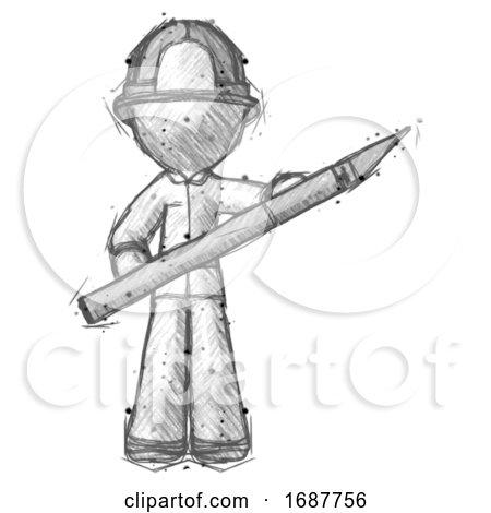 Sketch Firefighter Fireman Man Holding Large Scalpel by Leo Blanchette