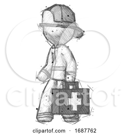 Sketch Firefighter Fireman Man Walking with Medical Aid Briefcase to Left by Leo Blanchette