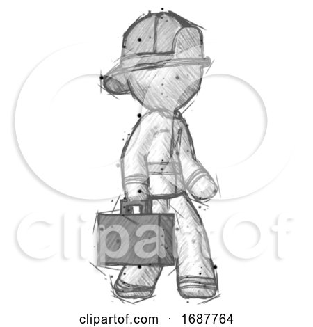 Sketch Firefighter Fireman Man Walking with Briefcase to the Right by Leo Blanchette