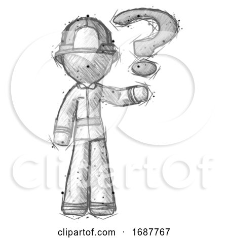 Sketch Firefighter Fireman Man Holding Question Mark to Right by Leo Blanchette