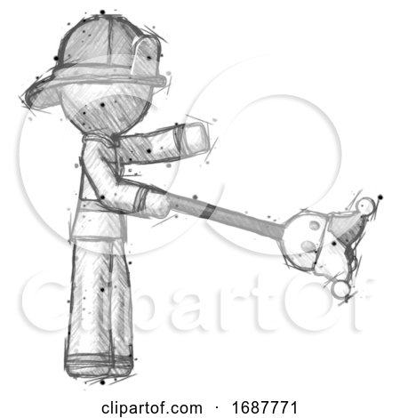 Sketch Firefighter Fireman Man Holding Jesterstaff - I Dub Thee Foolish Concept by Leo Blanchette