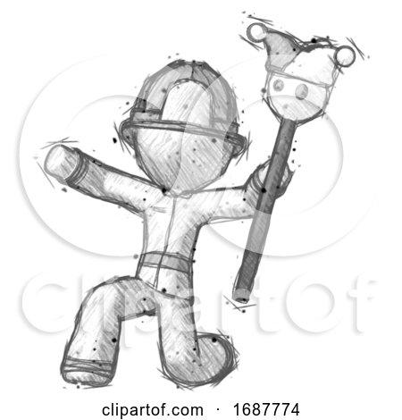 Sketch Firefighter Fireman Man Holding Jester Staff Posing Charismatically by Leo Blanchette