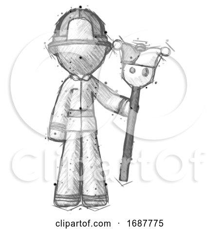 Sketch Firefighter Fireman Man Holding Jester Staff by Leo Blanchette